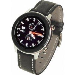 Zegarek - Smartwatch Męski Garett Men 5S czarno-szary z skórzanym paskiem