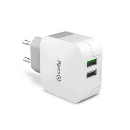 CELLY Ładowarka siec TURBO 3.4A, 2 porty USB biały