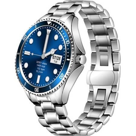 Zegarek - Smartwatch Męski Garett Men 4S srebrno-niebieski stalowy